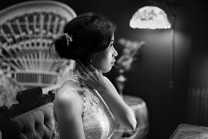 Bride preparation portrait in black and white