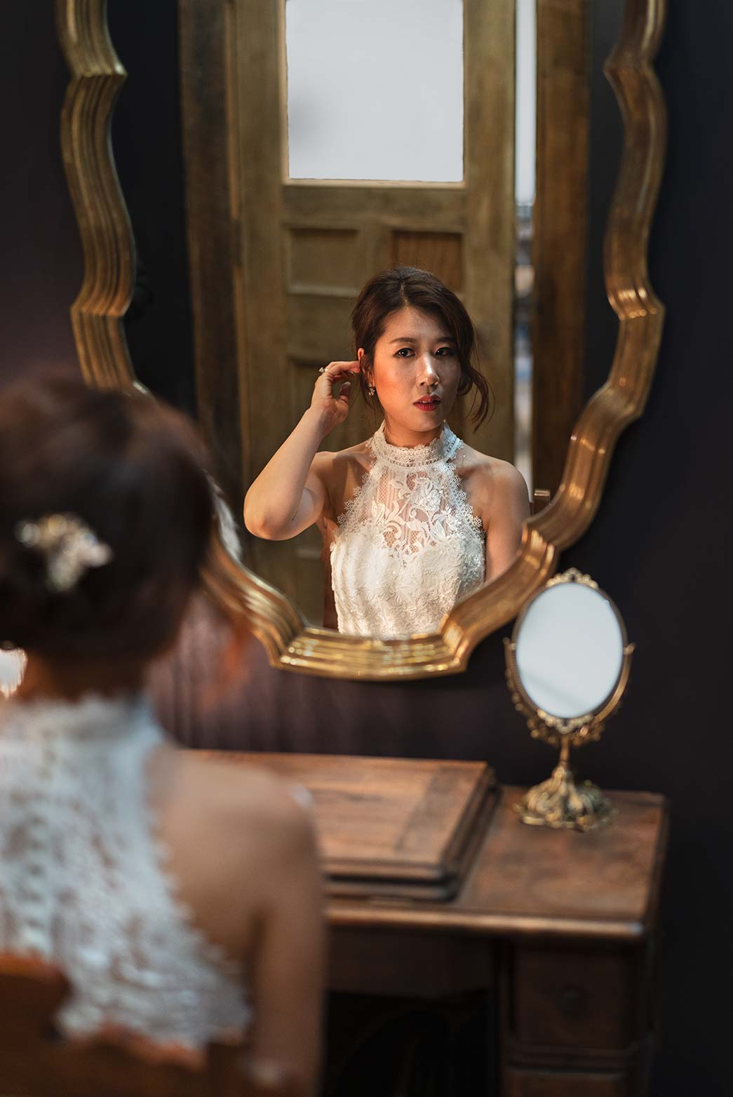 Wedding Preparation at the Mirror